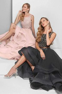 2019 New Two Pieces High Low Prom Dresses Long Beading Backless Formal Evening Party Gowns Cocktail Prom Dress for Women