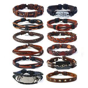 Braccialetti avvolgenti multistrato foglia vintage uomo moda treccia gioielli bracciali in vera pelle fascino braccialetti fai da te donne mano corda regolabile polsino polsino