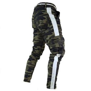 Moda-Mens Camuflagem Designer de Lápis Calça Jeans Moda Grandes Bolsos Listrado Com Zíper de Design Calças Finas de Jean