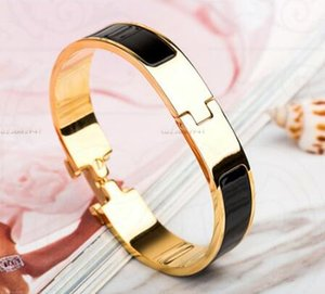 new arrival classic GOLD COLOR HB37 Jewelry H Letter Black Bangle For Women Men Gold plated Wristhand Belt Bangles free shipping