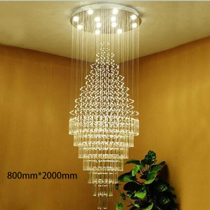 Modern LED Crystal Chandelier Lighting Fixtures Hanging Cristal Long Loft Glass Balls Pendant Light for Livingroom staircase