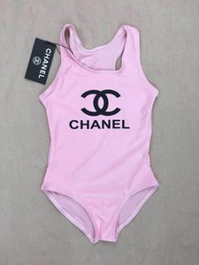 Ins en çok satan yüksek uç bir parça Takımı bebek kız jumpsuits mayo baskı mektup mayo çocuk plaj giyim