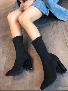 [Caja Original] de lujo de las nuevas mujeres del tobillo Hlaf tacón alto 10 cm de calcetín botines señoras del alto talón de la manera tentativa de desquitarse QUINCUNCIO Botas tamaño 35-40