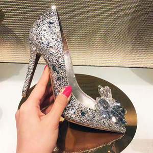 Women Celebrity Top Grade Cinderella Crystal High Heels Bridal Rhinestone Wedding Shoes Sexy Pointed Toe Crystal Flower Pumps 7dgd