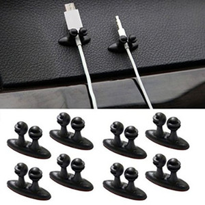 8PCS 다기능 접착제 차량용 충전기 라인 걸쇠 클램프 헤드폰 / USB 케이블 홀더 자동차 인테리어 액세서리