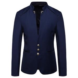 Stile cinese mandarino collare commercio matrimonio informale Slim fit giacca sportiva degli uomini dei vestiti giacche casual maschile Stand Collar Blazer 4XL
