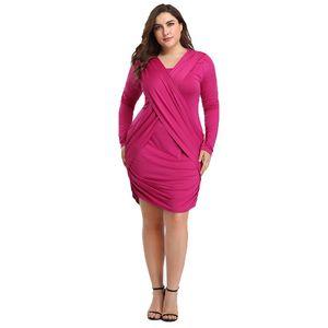 2020 Womens Designer Dresses Sexy Long Sleeve Cross Style Evening Dress Loose Plus Size Female Clothing