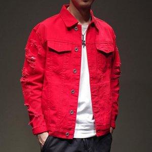 Homens rasgado buraco punk hip hop denim jaqueta streetwear japonês meninos harajuku casual algodão rosa jeans jaqueta plus size