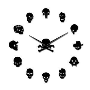 Heads 37inch-Schädel-Uhr DIY Horror Wall Art Riesen-Wanduhr Big Needle Frameless Zombie-Köpfe Großer Wand-Uhr-Halloween-Dekor