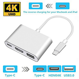 Macbook USB 3.1 TO HDMI Type-C to HDMI with HDMI PD charge transfer T4 HUB USB3.1 Video Cables video Connectors