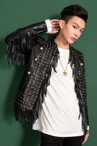 Luxury mens fashion black pu leather tassels hip top red carpe  event stage performance short jacket studio ASIA SIZE