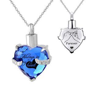 Joyas conmemorativas Collar de la urna Colgante de cristal de corazón Cremación Joyería para las cenizas Grabado Recuerdo Memorial Birthstone Colgante Joyas