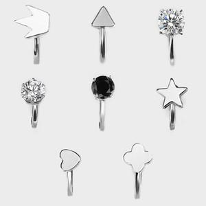Boucles d'oreilles géométriques pour les femmes magnifiquement plaqué argent cuivre triangle amour couronne étoile boucle d'oreille clip simple