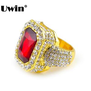 Hombres color oro Hip Hop Iced Red Stone Tamaño del anillo de Cz Disponible Anillo de mujer de lujo para hombre Moda Dedo Bling Anillo de Hip Hop