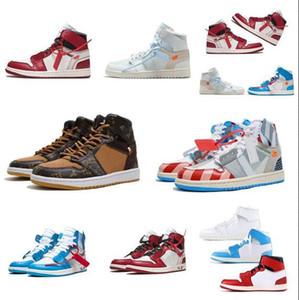 1 UNC Basketbol Ayakkabıları spor ayakkabısı 1s beyaz koyu pudra mavisi koni Spor Ayakkabı Off-w Üniversitesi Mavi Boyut Box ile US5.5-13 Ücretsiz Shippment