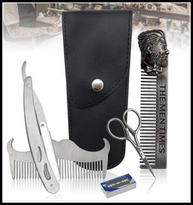 EPACK Beard Set Stainless Steel Comb Mustache Template Trim Styling Tool Beard Comb Beard Care Set Fast Christmas Gift