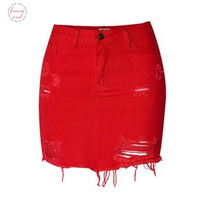 Fashion Sexy Womens High Waist Jeans Bag Hip 100% Cotton Denim Skirt Red Large Size Irregular Hole New Ice Color Mini Skirt
