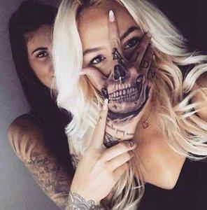 TEMPORAIRE tatouages temporaires Tatoo Faux main étanche autocollant de tatouage crâne tête des dents Halloween Tatouages Tatouage Tatto pour les hommes femmes fille ...