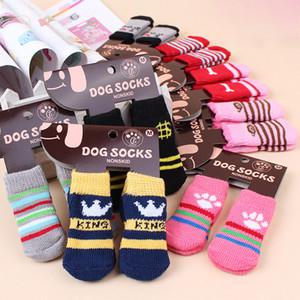 Chaussettes pour chien pour animaux de compagnie hiver chauds mignon chiot chiens coton doux anti-dérapant en tricot armure chaussette dérapage bas chaussette vêtements pour chiens WX9-1262