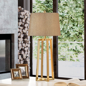 aço inoxidável Lamp Shades Big Modern Table lâmpadas para sala de estar quarto Luzes Secretária Lâmpadas de mesa de cabeceira Modern Moda