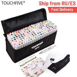 Marqueurs Touchfive 40/60/80/168 couleur d'animation marqueur Pen Set Dessin croquis Stylos art marqueurs à base d'alcool Fournitures Art Avec 6 Cadeaux