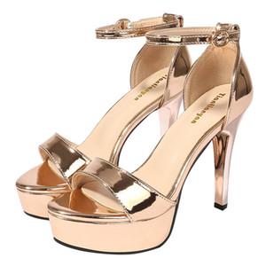 Night club / party / wed dress scarpa lady casual sandalo sliver oro tacco a spillo alto 12 cm tacco piattaforma open toe pompe libera la nave