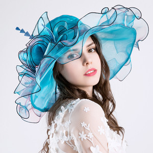 여자 우아한 꽃 Organza 모자 Foldable 편평한 주름 넓은 두루민 모자 거즈 켄터키 Derby 모자 접히는 일요일 모자 티 파티 교회 결혼식 모자