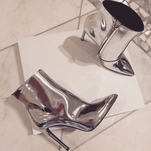 Hot Sale-New Arrival High Heels Autumn Fashion Dress Women Ankle Boots Street Style Silver Metallic Patent Leather half Boots