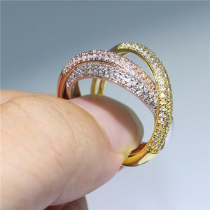 Hotstone88 Exquisite Women Wedding Jewelry 925 Silver In Rose Yellow White Gold Filled Interlink Ring Micro Pave CZ Eternal Gift Size 5-10