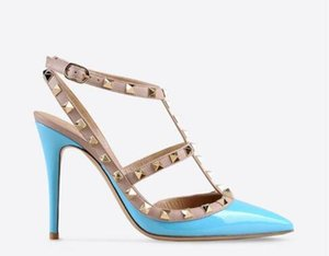 Hot Sale-DesignerPointed Toe 2-Strap with Studs high heels Patent Leather rivets Sandals Women Shoes valentine high heel Shoes