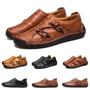 New Hand stitching men's casual shoes set foot England peas shoes leather men's shoes low large size 38-48 thirteen