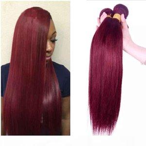 Colored Brazilian Human Hair 3 Bundles Straight 99# Burgundy Hair Style Cheap Brazilian Peruvian Malaysian Remy Human Hair Weaves Deals