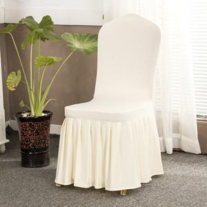 Düğün Dekor Ziyafet Sandalye Slipcover Spandex Elastik Sandalye için 11 Renkler Katı Sandalye Etek Kapak Pileli Etek Koltuk Kapak Kapaklar