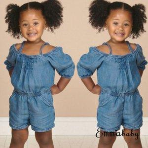 New Kid Kız Yıkama Denim Romper Bebek Bebek Kız Yaz Off Omuz Kısa Romper Infnat Denim Jumpsuit Yaz Çocuk Giyim