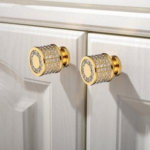 Lüks 24K Gerçek Altın Çek Kristal Pirinç Yuvarlak Kabine kapı kolları Mobilyaları Dolap Dolap Çekmece Çekme Kolları