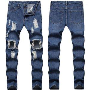 Jeans Slim droites Hommes Jeans Denim Casual longue Mid taille Light Blue Boy Adolescent Jeans Holes Designer Hommes