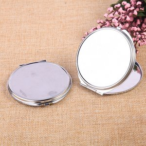 Drop shipping 70mm Pocket Mirror Compact Favors ronde Maquillage Argent métal Miroir cadeau maquillage Outils