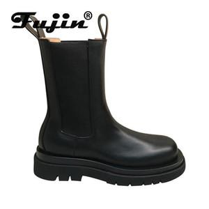 Fujin женщины сапог весна 2020 Толстых Bottom Мода копыта каблуков скольжение Круглого Toe Низких каблуки дышащей досуг Женщина лодыжка обуви
