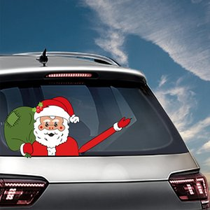 Noël autocollant de voiture Père Noël 3D PVC Waving Essuie-glace de pare-brise arrière Autocollants Autocollants Décorations de Noël OOA7381