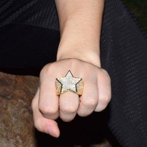 EL BLING KING Anillos manera de la estrella de 18 K de color completo de oro heló la joyería Cubic Zirconia Anillo de Hiphop para hombres y mujeres envío de la gota
