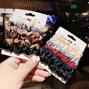 1set elegante Velvet Satin Scrunchies Mulheres Elastic borracha cabelo bandas Acessórios para meninas Laço Anel cabelo rabo de cavalo titular Headban