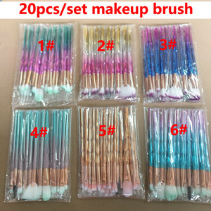 3D Elmas Makyaj Fırçalar 20pcs Seti Pudra Fırçası Setleri Yüz Göz Fırçası Puff Toplu ColorfulBrushes Vakfı Stokta Güzellik Kozmetik fırçalar