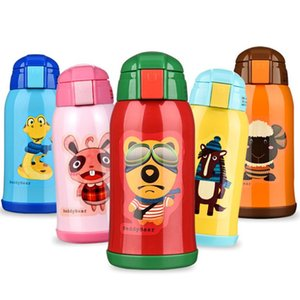 Korean cup with bear childrens straw insulated cup creative relief cartoon water 316 stainless steel insulated water