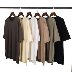 Sommermens Designer-T-Shirts High Street INS Hem Split Solid Color AUFMASS Lose Frauen-Paare T-Shirt Mode kurze Hülsen-beiläufige