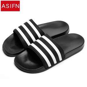 ASIFN Women's Slippers Men EVA Slipper Shoes Woman Couple Black and White Stripes Casual Flip Flops Summer Chaussures Femme Y200706