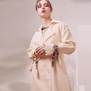 Bella philosophy Women Leopard Windbreaker Vintage Sashes Female Loose Trench Street Wear Lady Double Breasted Long Coat Outwear