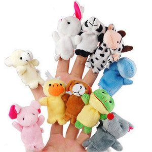 2020 New Arrival Funny 10 Pcs Family Finger Puppets Cloth Doll Baby Educational Hand Cartoon Animal Toy Finger Puppet Toys