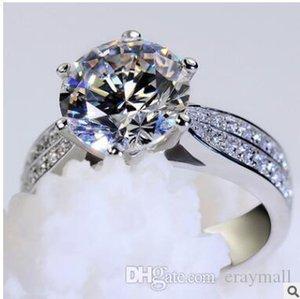 Forma revestimento de platina ms circularidade amor anel de diamante anel micro diamante com anel de diamante de carbono elevado