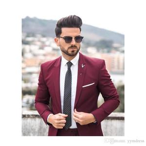 Erkekler için Burgonya Goorm Smokin Çentikli Çentikli Slim Fit En İyi Erkek Takım Elbise Balo takımları (Ceket + Pantolon + Kravat)