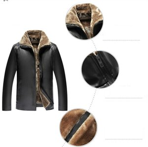 Mens конструктора курток среднего возраста Мех кожаной куртка Мужчина Плюс Velvet Утолщенного папа Pu кожа Открытого пальто марка одежда 2020 оптом